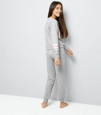 Teens Grey Do Not Disturb Pyjama Set New Look