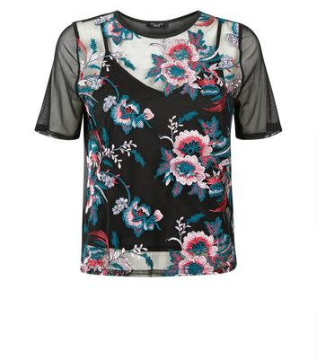 Petite Black Floral Embroidery Mesh Top New Look