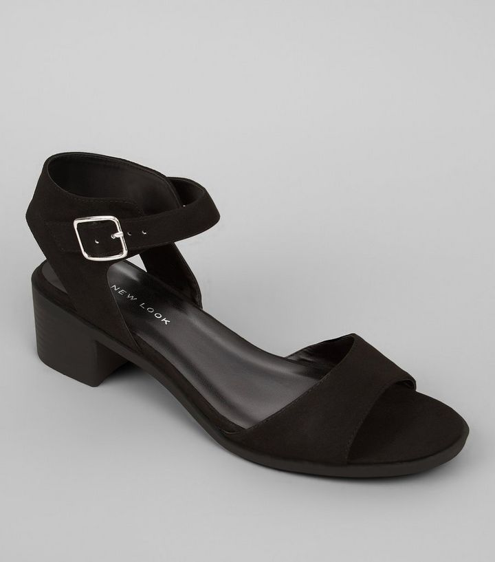 741e0c24e96 Wide Fit Black Suedette Block Heel Sandals