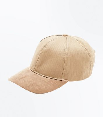 Tan Herringbone Suedette Cap New Look