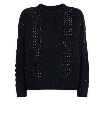 Navy Beaded Cable Knit Jumper New Look