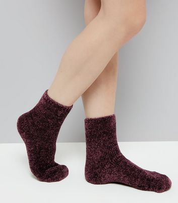 Burgundy Super Soft Slipper Socks New Look