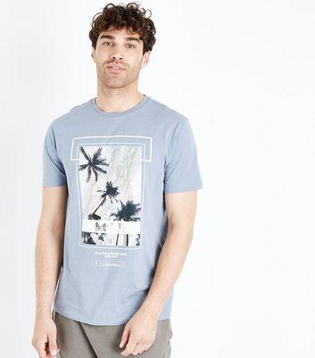 Pale Blue Palm Springs Slogan Print T-Shirt New Look