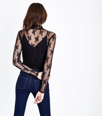 Black Lace Funnel Neck Top New Look