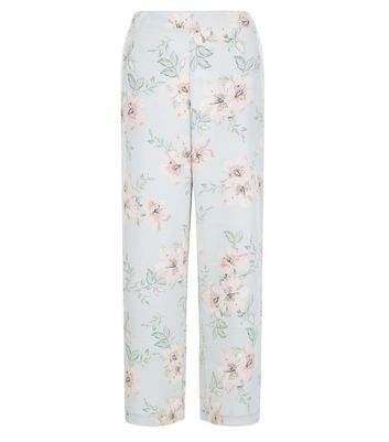 Petite Pale Grey Floral Print Wide Leg Trousers New Look