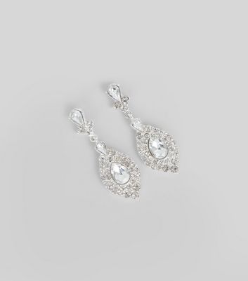 Silver Crystal Embellished Teardrop Earrings New Look