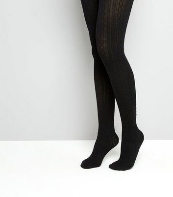 Black Cable Tights New Look