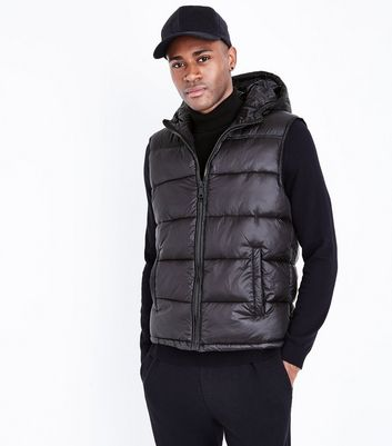 Black Hooded Puffer Gillet New Look
