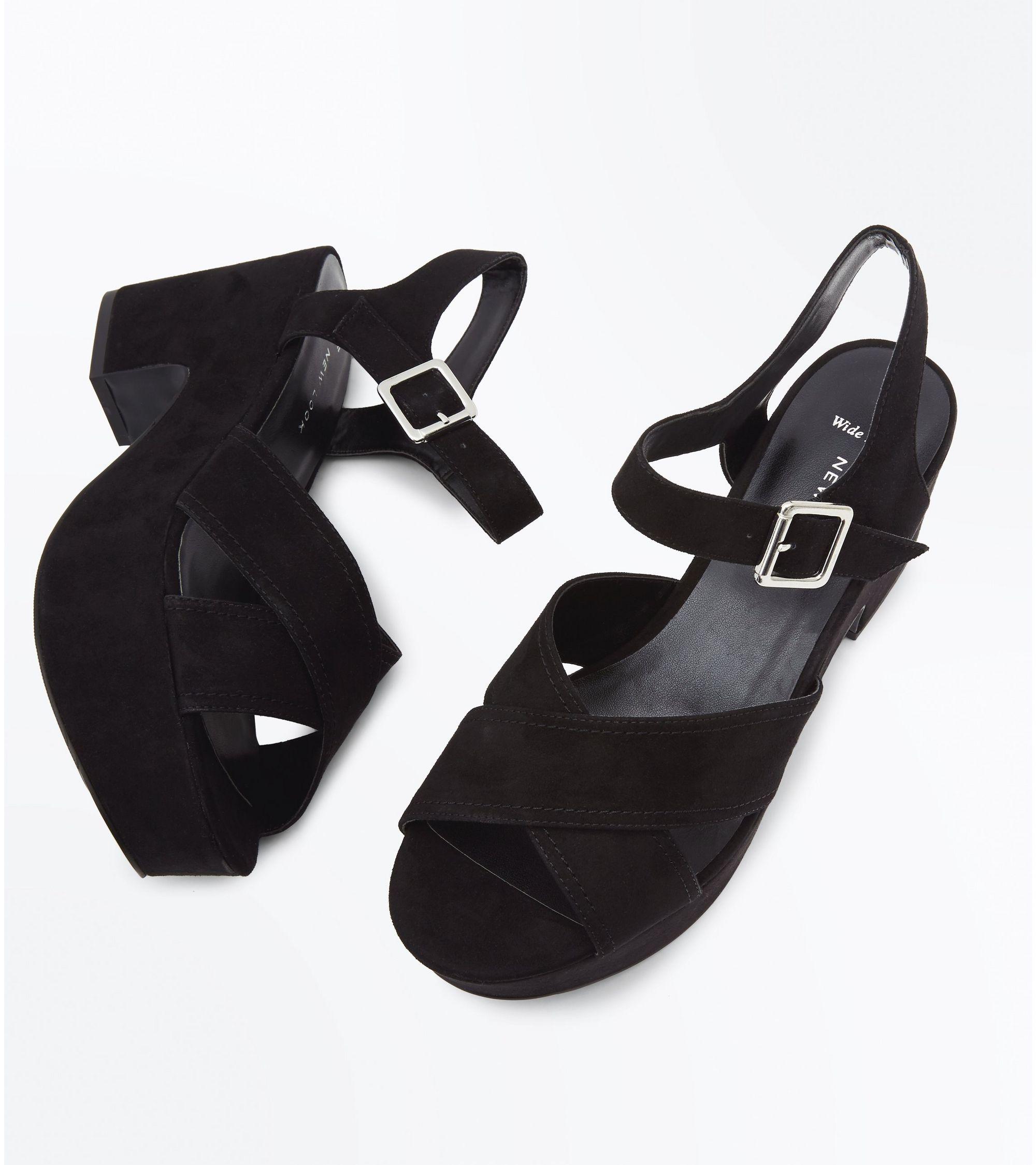 c722cd5770 New Look Wide Fit Black Suedette Platform Block Heels at £27.99 ...