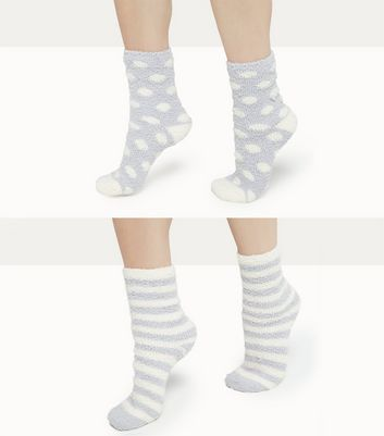 2 Grey Stripe and Dot Pattern Socks New Look