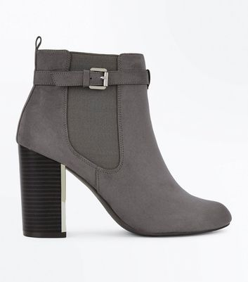 Grey Suedette Metal Trim Heeled Boots New Look
