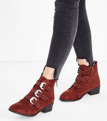 Rust Suedette Stud Buckle Ankle Boots New Look