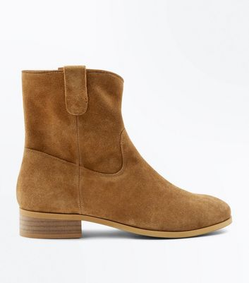 Tan Suede Western Chelsea Ankle Boots New Look