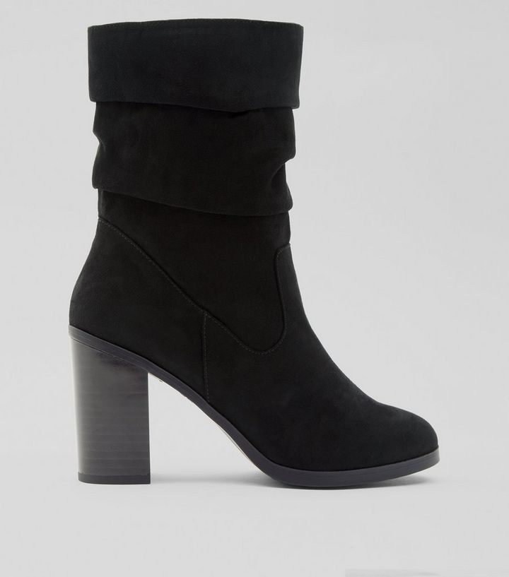 bfa7fa7511e Black Suedette Slouchy Block Heel Mid Calf Boots Add to Saved Items Remove  from Saved Items