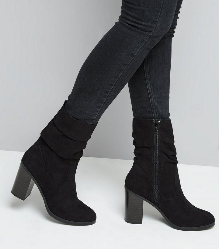 Black Suedette Slouchy Block Heel Mid Calf Boots  f9638107ec