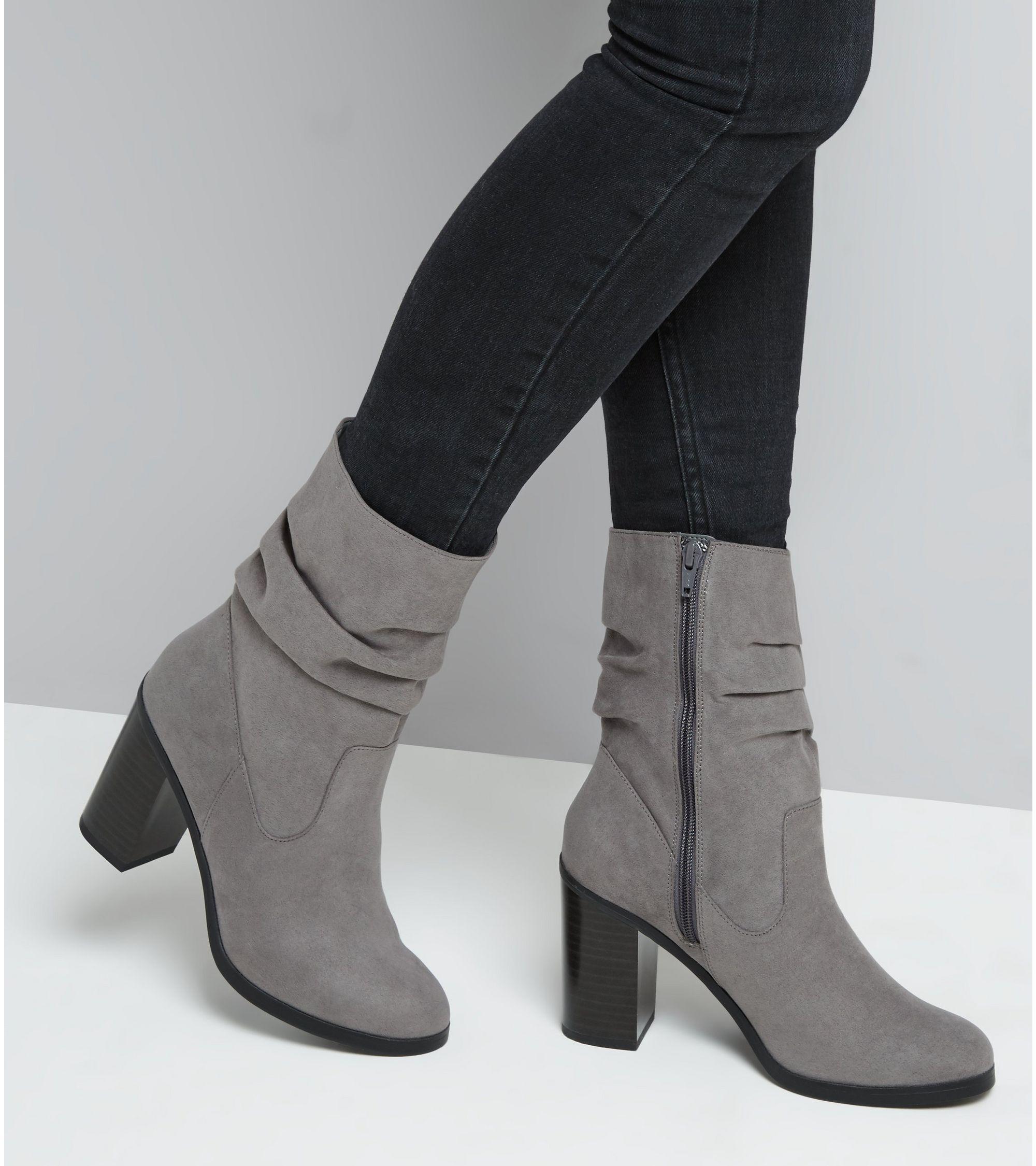 bdd4e46c53d Grey Suedette Slouchy Block Heel Mid Calf Boots