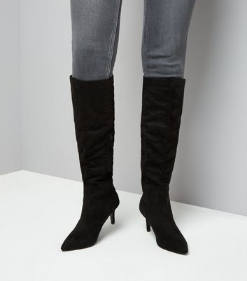 black-suedette-knee-high-kitten-heel-boots