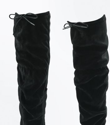Black Suedette Over The Knee Slouch Boots New Look