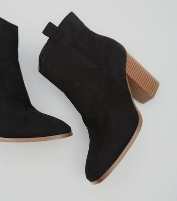 black-suedette-squared-toe-ankle-boot