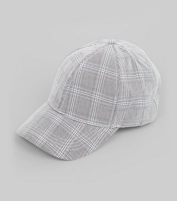 Grey Check Cap New Look