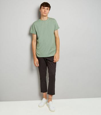 Pale Green Rolled Sleeve T-Shirt New Look