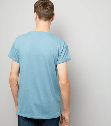 Turquoise Roll Sleeve T-Shirt New Look