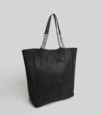 Black Suedette Chain Handle Shopper Bag New Look