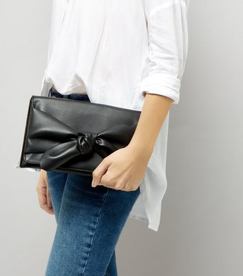 Black Bow Clutch New Look
