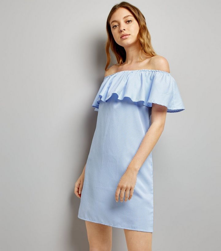 4650a3d7574 Cameo Rose Blue Stripe Bardot Dress