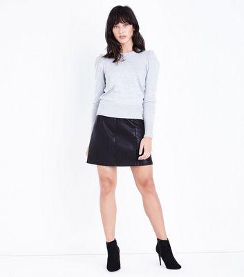 Pale Grey Puff Sleeve Fine Knit Jumper New Look