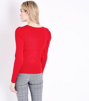 Red Puff Sleeve Fine Knit Jumper New Look