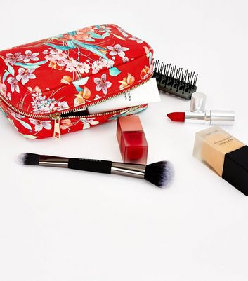 Red Floral Make Up Bag New Look