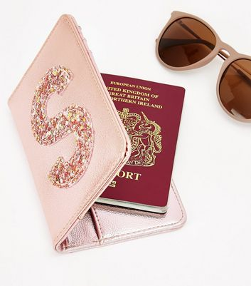 Pink Glitter S Initial Passport Holder New Look
