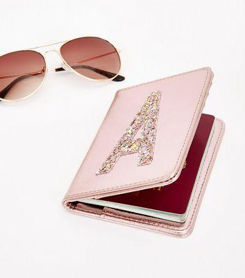 Pink Glitter A Initial Passport Holder New Look