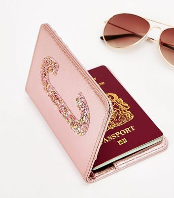 Pink Glitter C Initial Passport Holder New Look