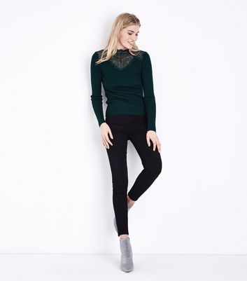 Dark Green Lace Panel High Neck Jumper New Look