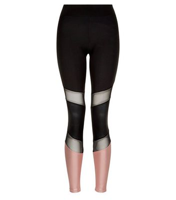 Black Mesh and Metallic Panel Sports Leggings New Look