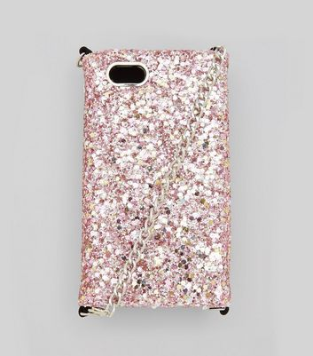 Pink Glitter iPhone 6/7 Purse Case New Look