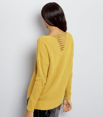 Cameo Rose Yellow Ladder Back Jumper New Look