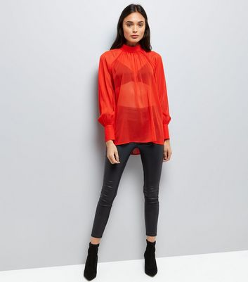 Red Flocked Spot High Neck Blouse New Look
