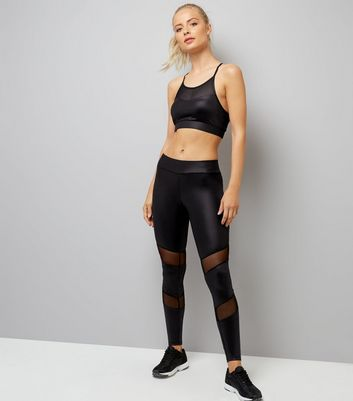Black Wet Look Mesh Panel Sports Leggings New Look