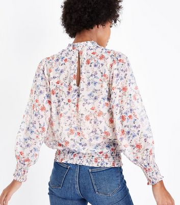Pink Floral Frill Neck Long Sleeve Blouse New Look
