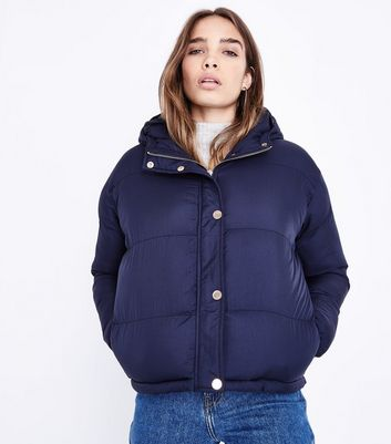 Blue Vanilla Navy Hooded Cropped Puffer Jacket