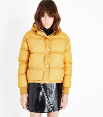 Blue Vanilla Mustard Hooded Cropped Puffer Jacket New Look