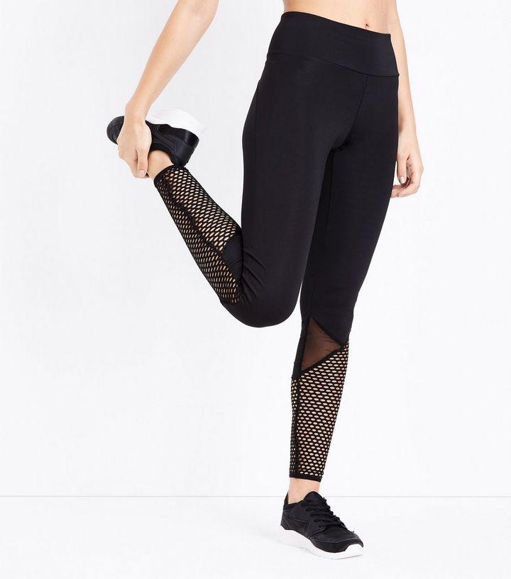 334bb38b9a0b8 Black Fishnet Panel Sports Leggings | New Look