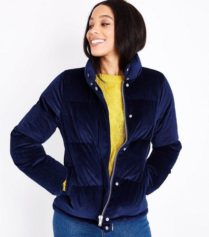 5ae96e1bc4d1 Blue Vanilla Navy Velvet Puffer Jacket