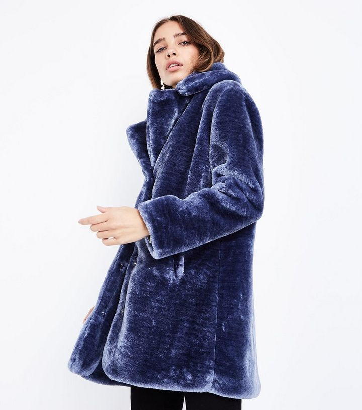 121002d3242 Pink Vanilla Blue Teddy Faux Fur Coat   New Look