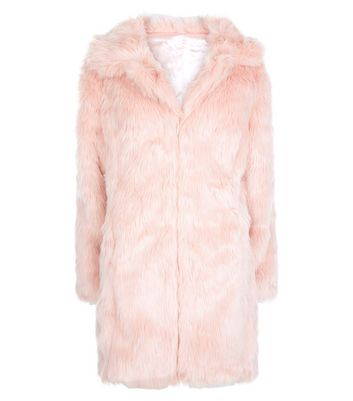 Blue Vanilla Shell Pink Faux Fur Collared Coat New Look