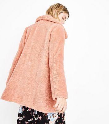 Blue Vanilla Pink Faux Shearling Coat New Look