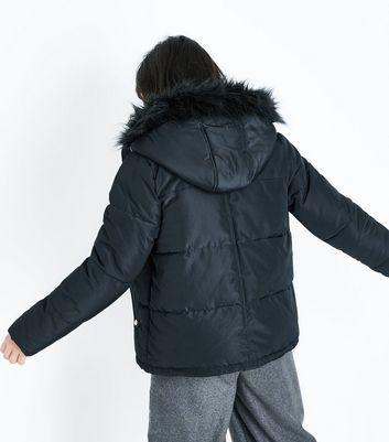 Pink Vanilla Black Faux Fur Trim Hooded Coat New Look